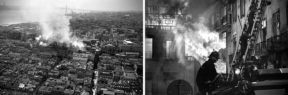 """O Chiado ficou destruído após o incêndio Foto: reprodução/ livro """"O Grande Incêndio do Chiado"""""""