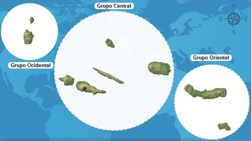 ilhas dos açores: mapa