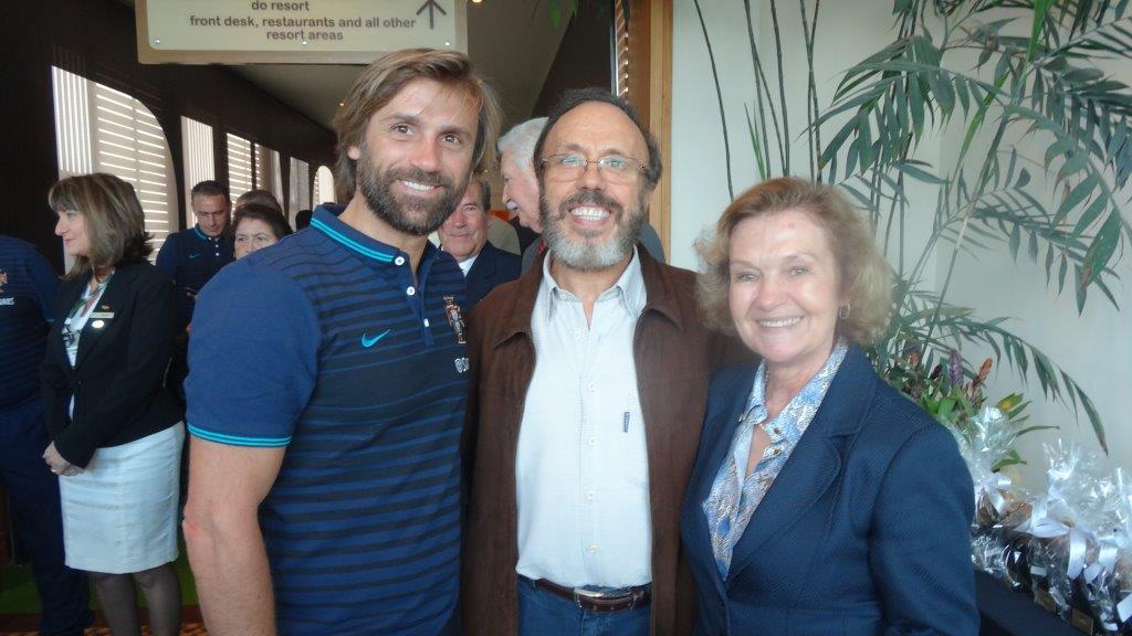 O ex-jogador João Pinto e a artista plástica Maria dos Anjos no Royal Palm