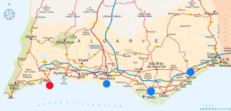 """Roteiro do Cultuga na série """"Algarve Sem Carro"""": Faro – Tavira – Albufeira – Lagos/ Mapa: Visit Portugal"""
