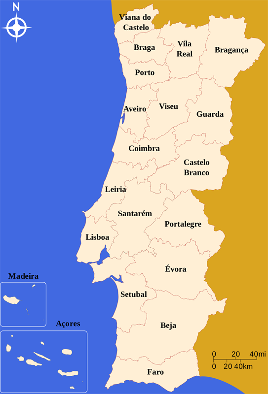 mapa de Portugal distritos