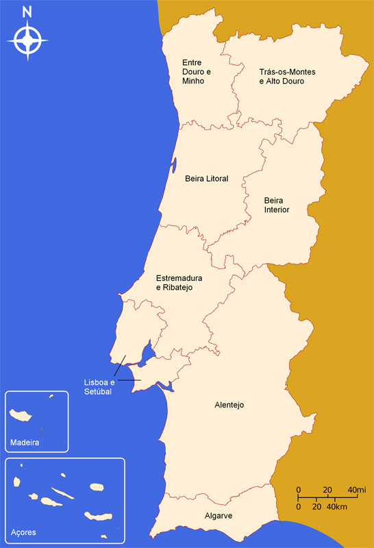 regiões portugal mapa Mapa Das Regioes De Portugal Continental | thujamassages regiões portugal mapa