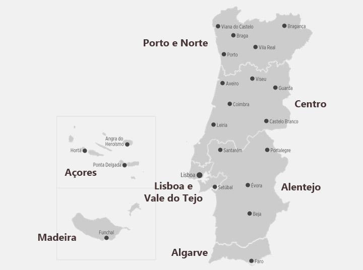 mapa de portugal regiões
