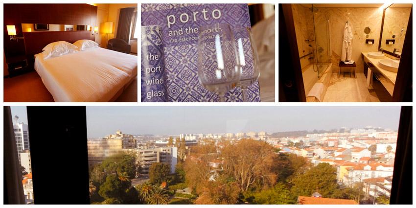 As acomodações do nosso quarto no Porto Palácio Congress Hotel & SPA