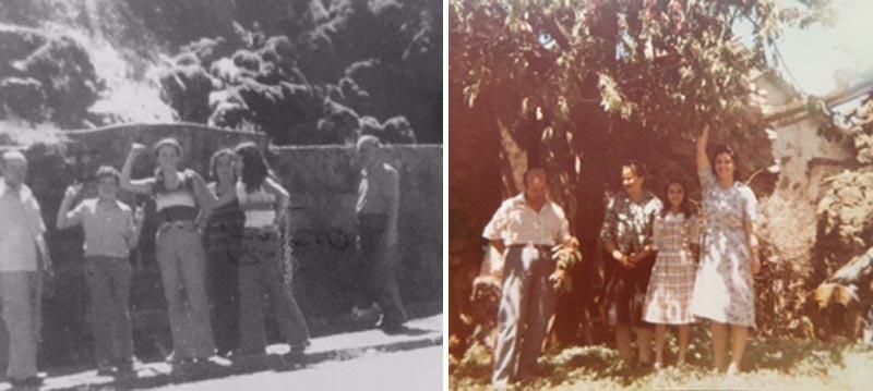 Do lado esquerdo, na Serra da Estrela, a caminho da aldeia materna em Sezures, 1972. Do lado direito, à sombra da cerejeira na casa da família paterna, em Parâmio, Trás-os-Montes