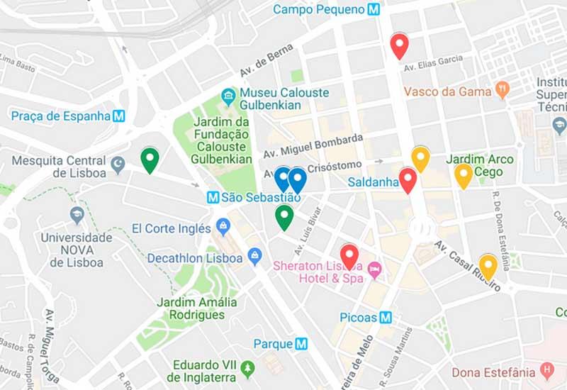 Mapa de onde ficar em Lisboa
