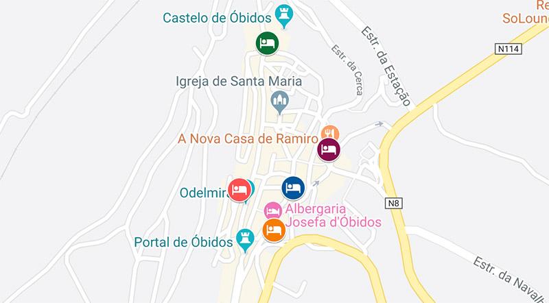 onde se hospedar em Óbidos Portugal mapa