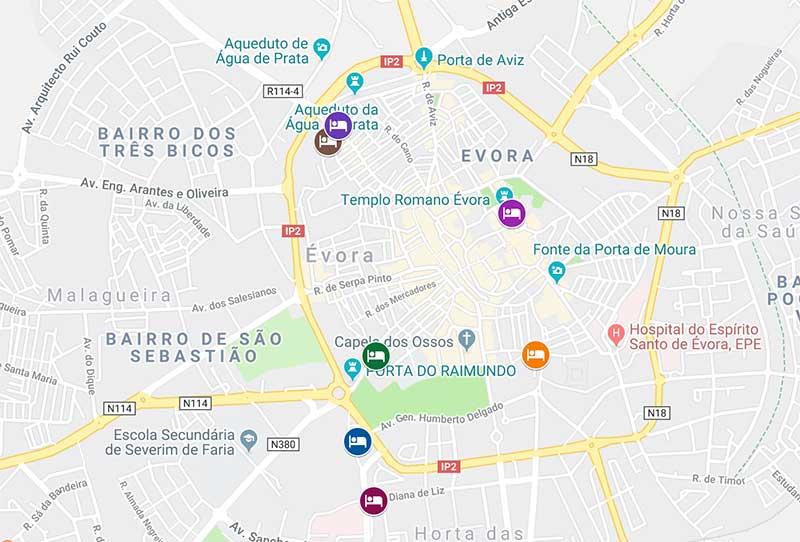 Mapa de onde ficar em Evora