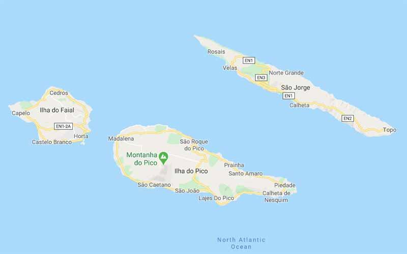 mapa ilha de São Jorge açores