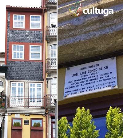 Placa em homenagem a Gomes de Sá, na Rua dos Bacalhoeiros