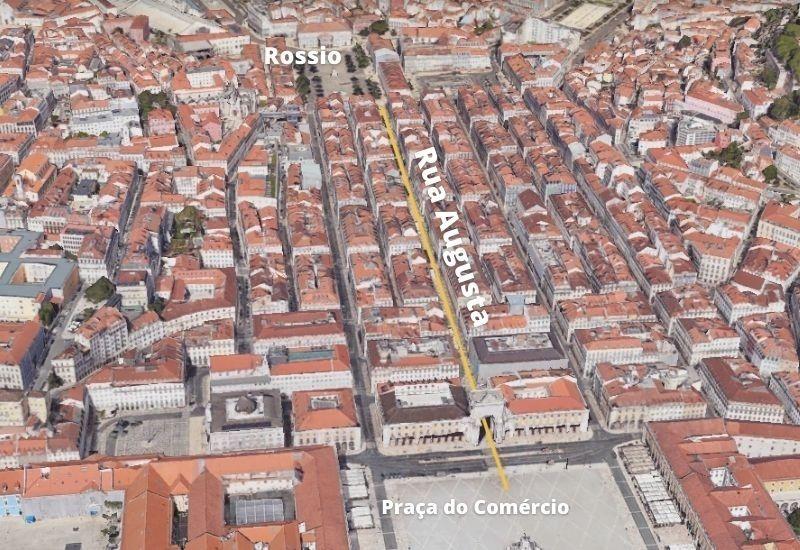 Mapa Rua Augusta Lisboa